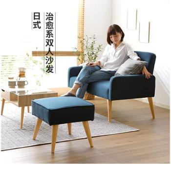 木优懒人沙发椅布艺单人双人沙发小户型客厅阳台两用沙发