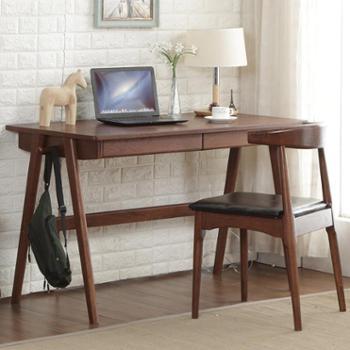 北欧/日式1米纯全实木书桌电脑桌1.2米带抽屉黑胡桃色写字办公桌
