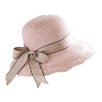 新款棉线针织帽春夏季女士遮阳帽韩版飘带盆帽可折叠沙滩帽子
