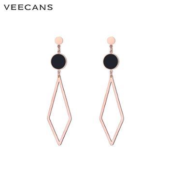veecans欧美时尚潮流几何菱形耳环长款玫瑰金网红个性耳钉女耳坠