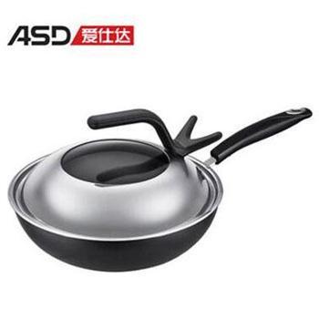 爱仕达 /ASD 铸铁不粘少油烟炒锅 电磁炉明火通用 CF30Q1TG 30cm