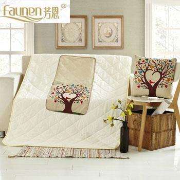 芳恩 FN-R742 数码印花亚麻抱枕被 爱心树空调被膝盖被旅行被靠枕抱枕办公靠垫