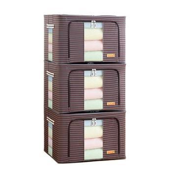 优芬无纺布棉被钢架收纳箱 特大号66升 衣物储物箱玩具折叠整理箱收纳盒(1个)