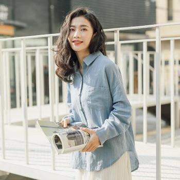莉之绮日系清新春季爆款女装翻领后开扣纯色口袋长袖棉麻衬衫女