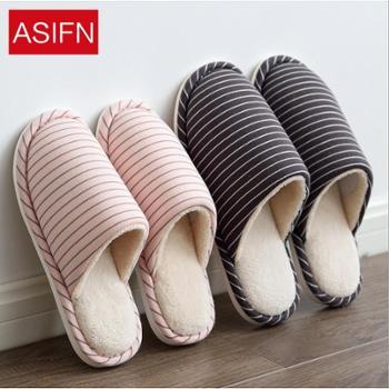 安尚芬秋冬季棉拖鞋女月子半包跟居家用室内防滑情侣厚底简约地板拖男士