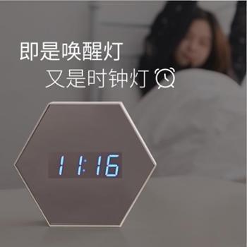 万火新款卧室闹钟床头灯 智能家居多功能镜像小夜灯 创意生日礼品灯具