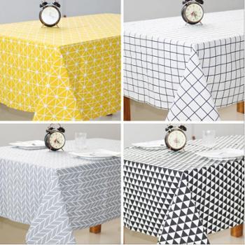 【包邮】北欧极简风格餐桌布格子纯色棉麻长方形桌布台布茶几台布现代日式格子欧式茶几清新北欧风格
