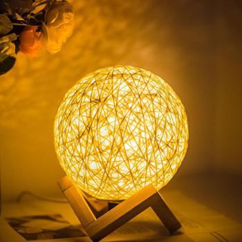 万火创意北欧现代简约时尚七彩led小夜灯个性装饰田园卧室实木床头灯