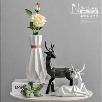 北欧创意家居摆件陶瓷花瓶 陶瓷饰品工艺品 时尚北欧鹿摆件