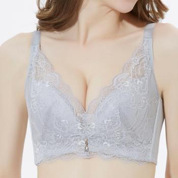 大胸文胸夏季全罩杯聚拢上托无钢圈内衣薄款大胸显小收副乳调整型