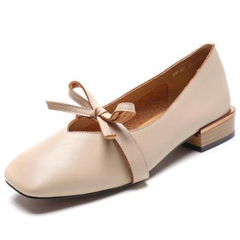 新款奶奶鞋韩版方头仙女鞋粗跟单鞋女蝴蝶结浅口中跟鞋子