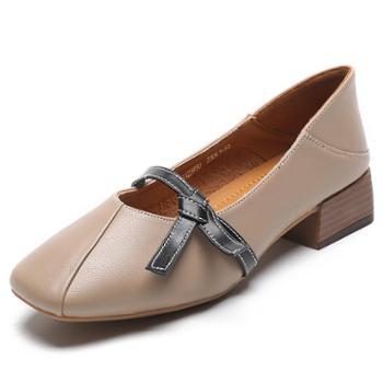 浅口单鞋女2019春款粗跟玛丽珍鞋女中跟一脚蹬鞋子方头复古奶奶鞋