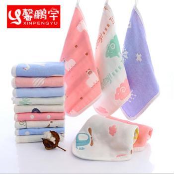 【10条装】方巾六层纱布纯棉手帕幼儿园儿童小方巾婴儿全棉卡通宝宝吸水方巾