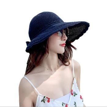 拉菲草帽子女士度假空顶太阳帽蝴蝶结大檐沙滩防晒遮阳帽