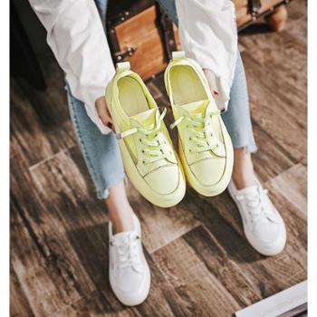 真皮网面小白鞋女透气网鞋2019夏季新款韩版低帮平底休闲板鞋潮