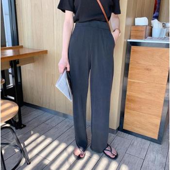2019夏季新品韩版宽松紧高腰拖地裤显瘦直筒休闲裤女K70245