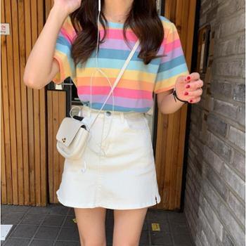 彩虹条纹短袖T恤女2019夏季韩版宽松休闲糖果色上衣