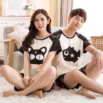 韩可雅韩版情侣睡衣夏季棉质短袖女士薄款卡通青少年男士夏天家居服套装