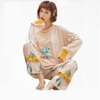 Lion Snif韩版长袖秋冬季女士卡通简约家居服两睡衣件套装