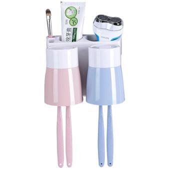 优芬卫生间吸壁式牙刷架壁挂洗漱杯牙刷筒漱口杯套装收纳架置物架