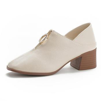 深口单鞋秋季新款小皮鞋中跟百搭女鞋韩版方头粗跟两穿踩跟懒人鞋