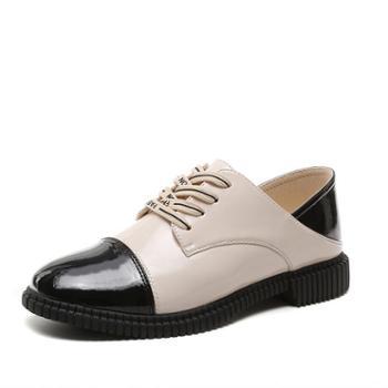 小皮鞋女秋款时装休闲单鞋女英伦风女单鞋时尚拼色漆皮低帮鞋
