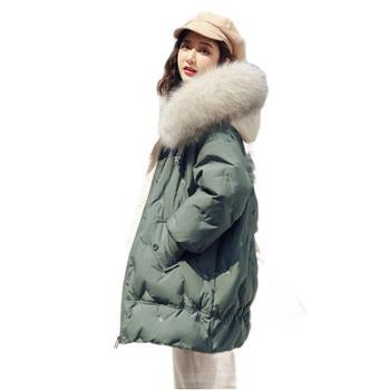 羽绒服女秋冬白鸭绒中长款韩版超大毛领潮宽松时尚冬装外套女