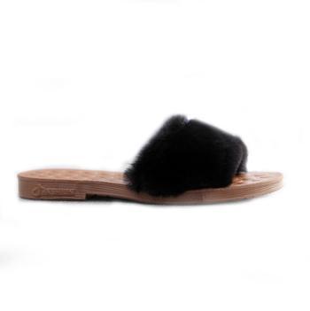 秋冬毛毛拖鞋女外穿时尚百搭保暖棉拖鞋室内网红平底毛绒一字拖鞋