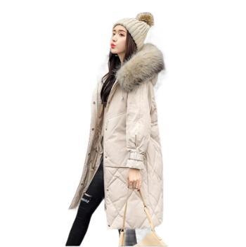 羽绒服女时尚韩版冬装中长款白鸭绒外套大毛领过膝羽绒衣