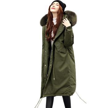 羽绒服女中长款白鸭绒加厚2019新款冬季时尚收腰宽松貉子毛真毛领