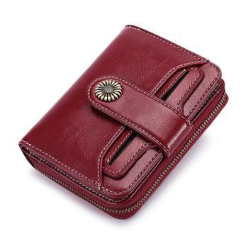 卡伦玛短款女钱包油蜡真皮女士钱夹学生韩版零钱包驾驶证皮夹