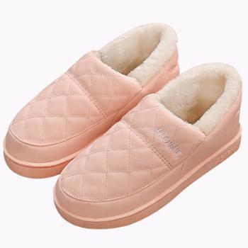安尚芬秋冬季情侣PU皮居家棉拖鞋包跟家男女厚底防滑防水保暖棉拖鞋