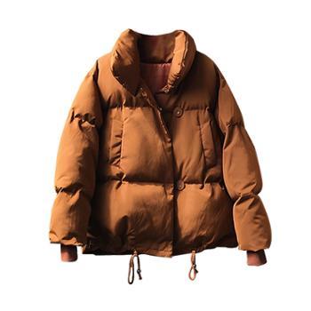 【言双】冬季加厚面包服韩版宽松茧型短款A字棉衣外套女