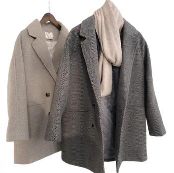 小香盯 毛呢外套女秋冬款宽松中长款夹棉呢大衣西装