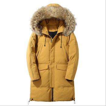冬季羽绒服男中长款潮流男装连帽男士外套毛领保暖大衣