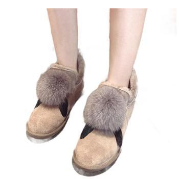 雪地靴女短筒冬季百搭真皮真毛皮靴保暖羊毛靴子1129