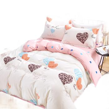 全棉斜纹印花四件套纯棉被套宿舍三件套被单床单床笠床上用品