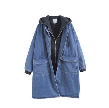 冬季假两件加绒加厚保暖羊羔毛牛仔外套宽松大码中长款外套