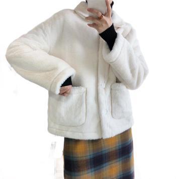 鹿西 仿皮草外套女秋冬短款小香风毛茸茸翻领獭兔毛外套