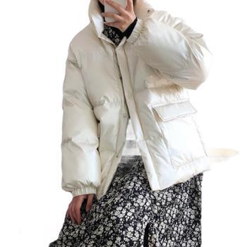 鹿西 女士棉衣韩版冬季外套短款面包服时尚亮面棉服女711