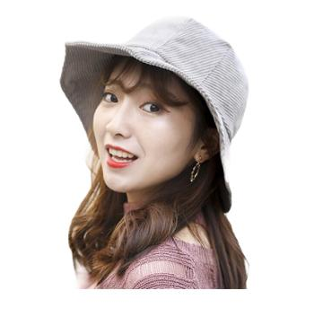秋冬季女士盆帽新款韩版百搭休闲条绒户外礼帽户外遮阳大沿帽子