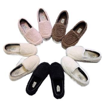 泰迪熊毛毛鞋平底豆豆鞋女加绒加厚棉鞋乐福鞋卷绒懒人鞋