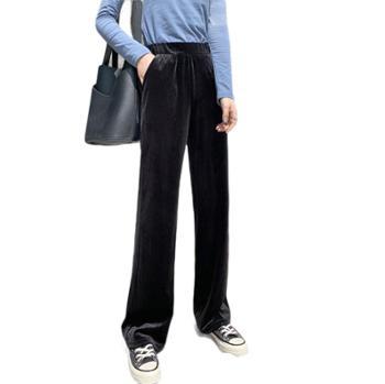 秋冬高腰垂感金丝绒阔腿裤女加绒加厚宽松坠感显瘦直筒拖地长裤子