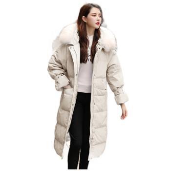 羽绒服女中长款冬装时尚韩版加厚显瘦修身女装大毛领外套9618