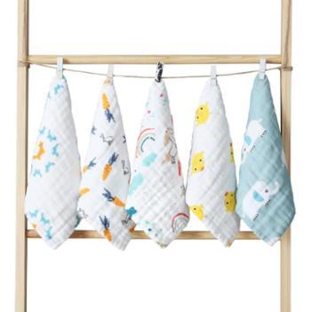 5条装棉小宝六层纯棉印花小方巾全棉高密纱布毛巾婴幼儿洗脸巾婴儿手帕喂奶巾