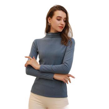 秋装女修身半高领长袖t恤纯色加绒打底衫无痕内搭上衣sy998