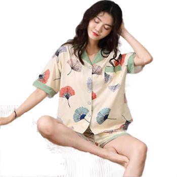夏季薄款短袖清新开衫家居服两件套女士睡衣