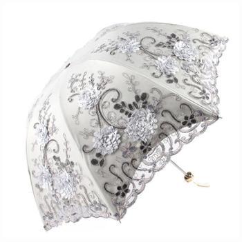 欧若拉绣花蕾丝双层黑胶三折伞防紫外线太阳伞晴雨伞