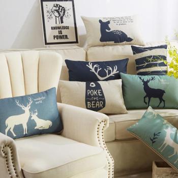 【包邮】北欧鹿腰枕靠垫抱枕汽车沙发座椅靠背午睡枕抱枕含芯30*50含芯