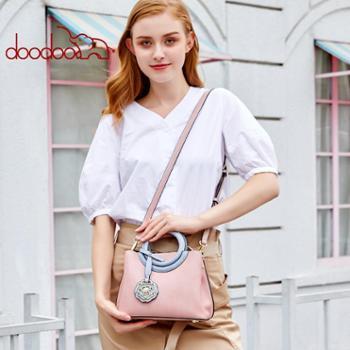 doodoo包包女新款时尚大气圆环手提包花朵挂饰单肩斜挎女包潮D8050
